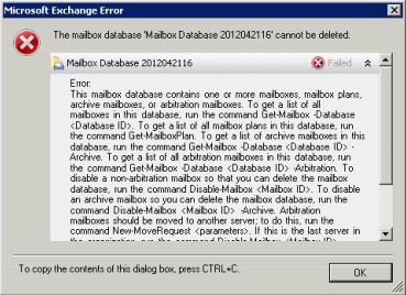 "The mailbox database """" cannot be deleted"