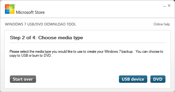 Windows 7 USB/DVD Download tool - Choose media type