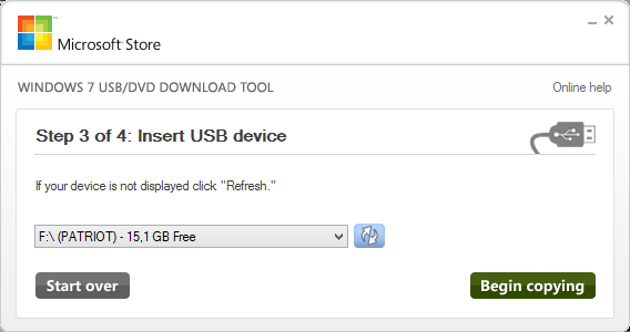 Windows 7 USB/DVD Download tool - Insert USB device