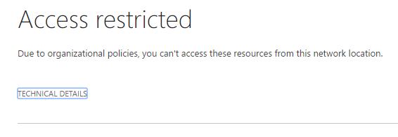 Přístup na základě síťového umístění - Přístup zakázán