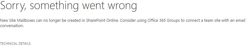 Error - Site Mailbox