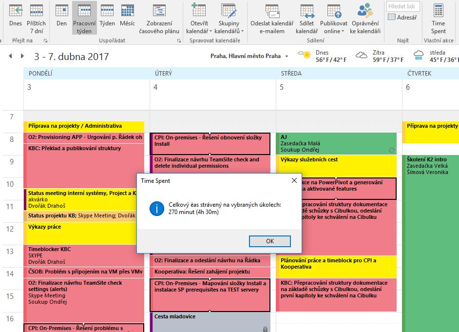 Outlook - Kalendář - celkový čas (Time Spent)