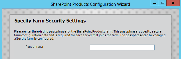 New SharePoint Server PassPhrase