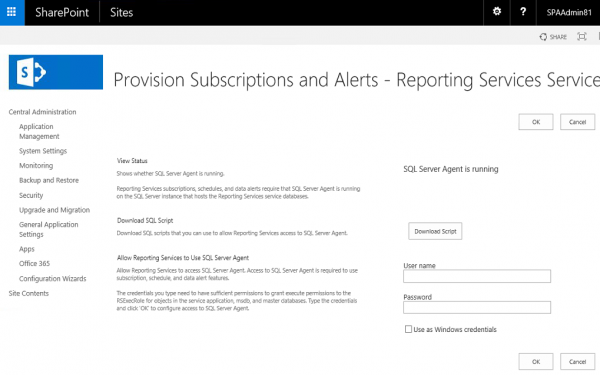 SSRS SP2016 SA Management Provision Subscriptions and Alerts