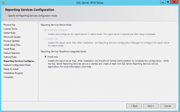 SSRS SQL2016 Install only