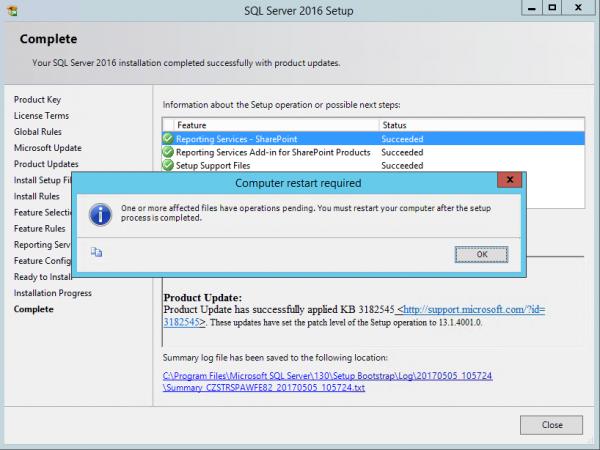 SSRS SQL2016 Succeeded