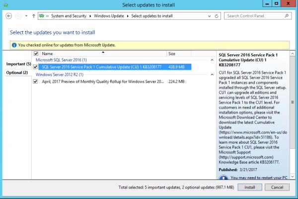 SSRS SQL2016 Updates
