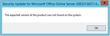 Office Online Server - Expected version not found
